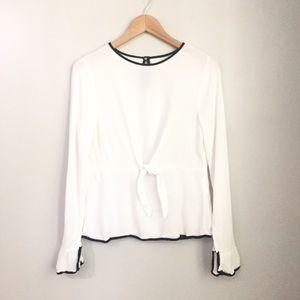 9ee3cbf1a8d1e5 Zara Trafaluc White Long Sleeved Peplum Top Size L